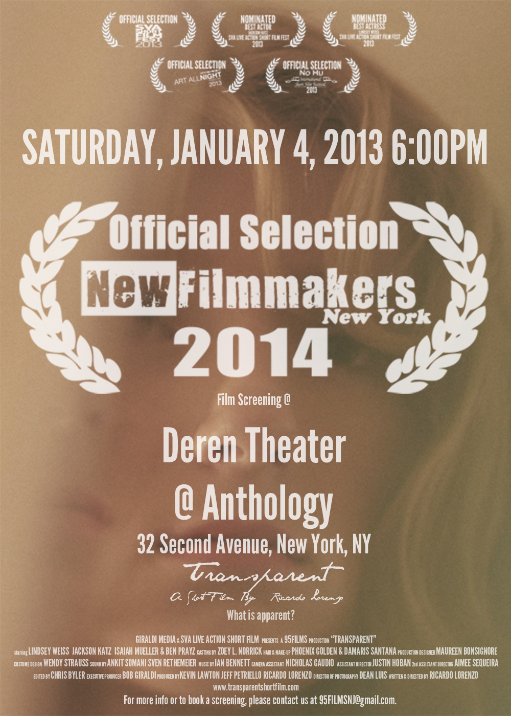 Transparent is an Official Selection of NewFilmmakers New York